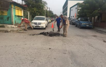 Bacheo permanente llega a la calle Guayalejo