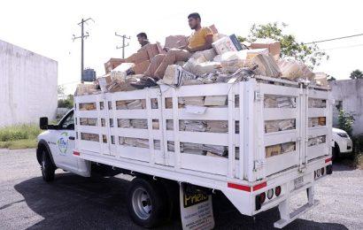 Depura Gobierno de Tamaulipas 116.9 toneladas de archivo muerto de la Secretaría de Finanzas para posterior reciclaje